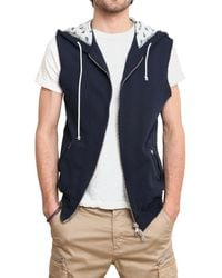 Balmain | Blue Bandana Hood Fleece Vest Sweatshirt for Men | Lyst