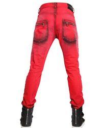 Balmain - Red 17cm Dyed Denim Biker Super Skinny Jeans for Men - Lyst