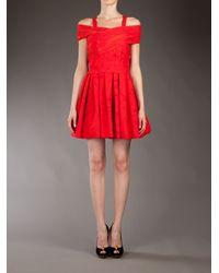 Preen By Thornton Bregazzi Red Printed Ted Bardot Dress