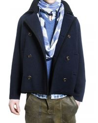 Pringle of Scotland | Blue Knit Wool Pea Coat for Men | Lyst