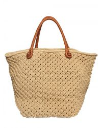 Ralph Lauren | Natural Woven Cotton Crochet Tote | Lyst