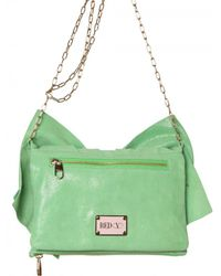 RED Valentino - Green Laminated Leather Bow Shoulder Bag - Lyst