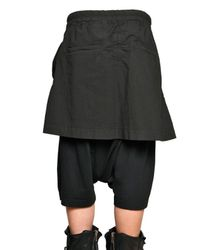 Rick Owens - Black Poplin Skirt and Jersey Shorts for Men - Lyst