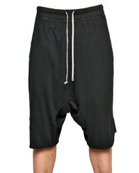Rick Owens - Black Poplin Waistband Cotton Jersey Shorts for Men - Lyst