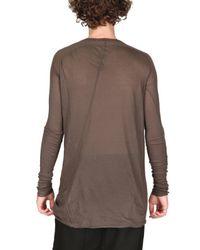Rick Owens | Brown Unstable Cotton Jersey T-shirt for Men | Lyst