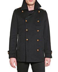 Simon Spurr - Black Melton Pea Coat for Men - Lyst