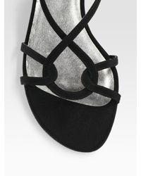 Stuart Weitzman - Black Reversal Strappy Peau De Soie Sandals - Lyst