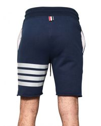 Thom Browne | Blue Raw Cut Cotton Fleece Shorts for Men | Lyst