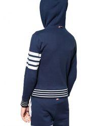 Thom Browne | Blue Stripey Cotton Fleece Hooded Sweatshirt for Men | Lyst