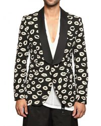 Tom Rebl | Black Lips Jacquard Cotton Canvas Jacket for Men | Lyst