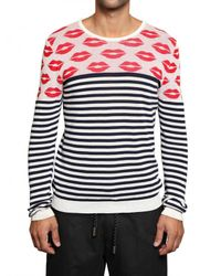 Tom Rebl | Red Lips and Stripey Knit Long Sleeved Sweat for Men | Lyst