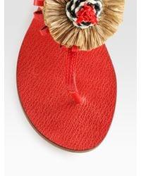 Tory Burch Natural Burt Woven Leather & Ribbon Thong Sandals