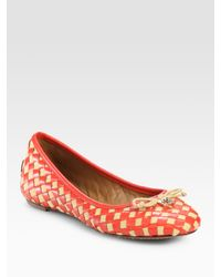 Tory Burch | Natural Prescot Woven Leather Bow Ballet Flats | Lyst