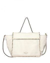 Valentino | White Rockstud Small Top Handle | Lyst