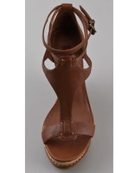 7 For All Mankind - Brown Rayn Wedge Sandal - Lyst