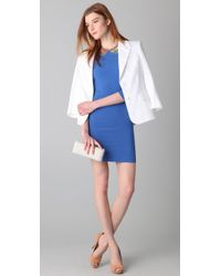 Alice + Olivia - Blue Isaac 3/4 Sleeve Fitted Dress - Lyst