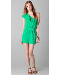 Alice + Olivia | Green Stella One Shoulder Ruffled Romper | Lyst