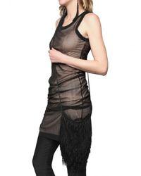 Ann Demeulemeester - Black Silk Georgette Fringed Shoulder Bag - Lyst