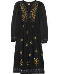 Antik Batik | Black Hippy Embroidered Cotton Dress | Lyst