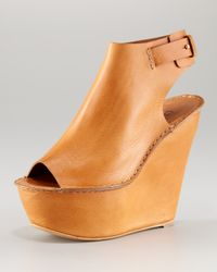 Chloé | Brown Open-toe Cuffed Wedge | Lyst