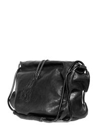 De Couture | Black Cracked Shiny Lambskin Shoulder Bag | Lyst