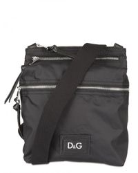 Dolce & Gabbana | Black Leather and Nylon Shoulder Bag for Men | Lyst