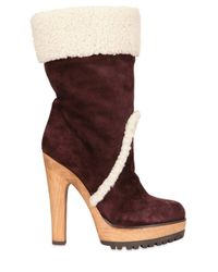 Dolce & Gabbana | Brown 130mm Suede Shearling Boots | Lyst