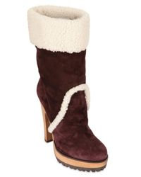 Dolce & Gabbana - Brown 130mm Suede Shearling Boots - Lyst