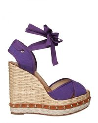 Dolce & Gabbana | Purple 130mm Canvas Criss Cross Sandal Wedges | Lyst