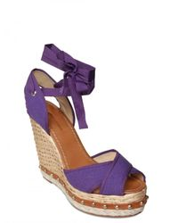 Dolce & Gabbana - Purple 130mm Canvas Criss Cross Sandal Wedges - Lyst