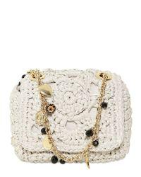 Dolce & Gabbana | White Mini Miss Charles Raffia Shoulder Bag | Lyst