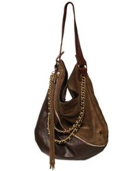 DSquared² - Brown Suede & Leather Zipped Shoulder Bag - Lyst