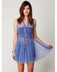 Free People | Blue Fp One Flock Dot House Slip | Lyst