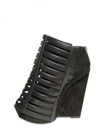 Gareth Pugh | Black 120mm Suede and Leather Wedges | Lyst