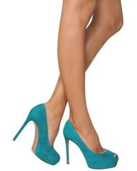 Gianvito Rossi - Blue 120mm Suede Squared Peep Toe Pumps - Lyst