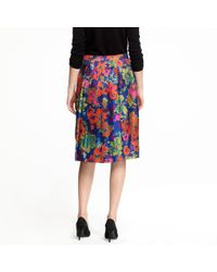 J.Crew - Blue Pleated A-line Skirt in Ashbury Floral - Lyst