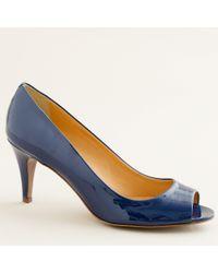 J.Crew | Blue Drea Patent Peep-toe Pumps | Lyst