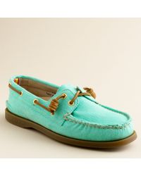 J.Crew | Green Sperry Top-Sider® Authentic Original 2-Eye Boat Shoes in Twill | Lyst