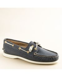 J.Crew | Blue Sperry Top-sider® Authentic Original 2-eye Boat Shoes in Twill | Lyst