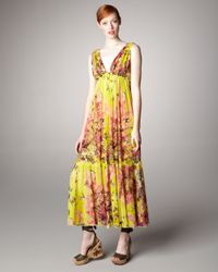 Jean Paul Gaultier | Yellow Floral-print Maxi Dress | Lyst