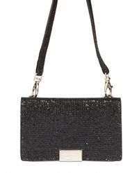 Jimmy Choo | Black Glitter Fabric I-phone Case Shoulder Bag | Lyst
