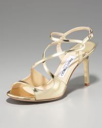 Jimmy Choo - Paxton Strappy Metallic Sandal, Gold - Lyst