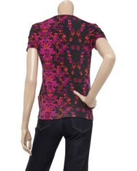 Just Cavalli - Purple Floral-print Stretch-jersey T-shirt - Lyst