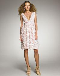 Oscar de la Renta | Pink Petal-applique Cocktail Dress | Lyst