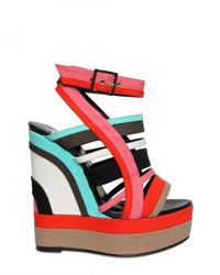 Pierre Hardy | Multicolor Canvas Wedge Sandals | Lyst