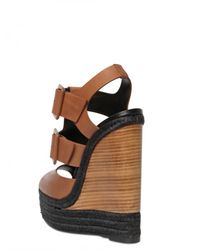 Pierre Hardy - Brown 150mm Leather Buckle Sandal Wedges - Lyst