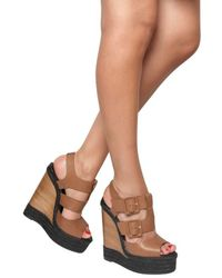 Pierre Hardy | Brown 150mm Leather Buckle Sandal Wedges | Lyst