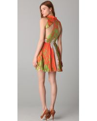 Porter Grey - Multicolor Cutout Back Dress with Pleated Skirt - Lyst