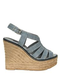 Ralph Lauren | Blue 125mm Fianna Linen Sandal Wedges | Lyst