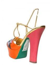 Sergio Rossi - Orange 100mm Painted Flower Nappa Sandals - Lyst